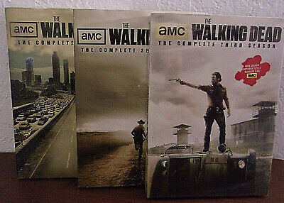 Amc The Walking Dead Tv Seasons One Two & Three Dvd Box Sets Dvds New Sealed
