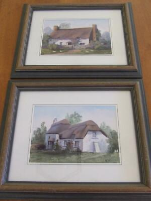 2 Original Framed English Thatched Cottage Paintings Wiltshire/Hampshire -Signed