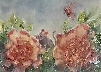 ACEO Original painting mouse Mice Butterfly flowers art artwork Originals USA US