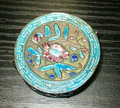 Old Cloisonne Repousse Enamel Chinese Floral Opium Jar Box