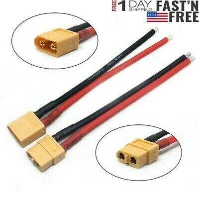2PCS Of XT60 Battery Male Female Connector Plug 14 AWG Wire RC TO ESC Charger US