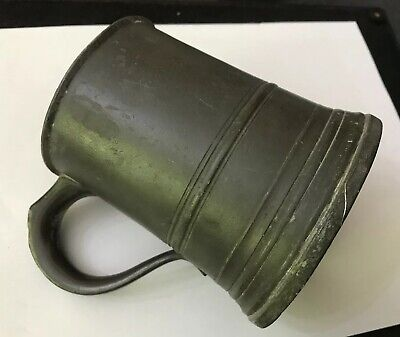 Antique Early Pewter Pint Tankard Marked James Yates