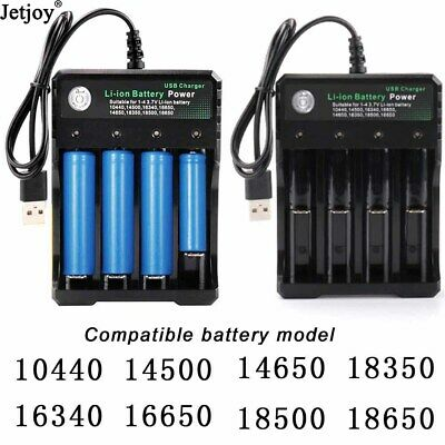 4 Slots Battery Charger Smart Charging For 18650 Rechargeable Li-Ion Battery USB