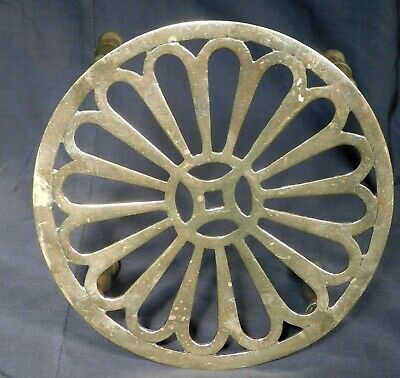 Antique British Arts Crafts Gothic Revival Brass Hearth Kettle Stand Trivet