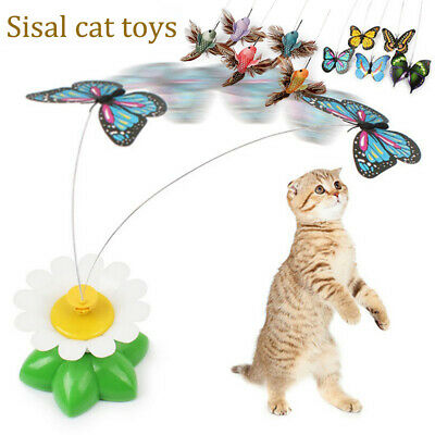 Fun Sisal Cat Toy Kitten Feather Teaser Interactive Play Pet Scratch Toys UK