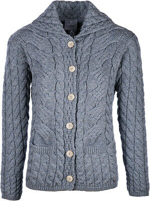 Ladies 6 Button Cable Merino Wool Cardigan by Aran Mills - Light Grey