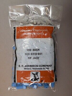 Lot-of-100 E.F. Johnson 105-2210-601 Blue Insulated Tip Jacks with Hardware NEW
