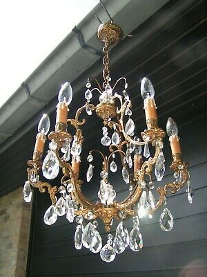 Very attractive vtg French 6 lt  cage chandelier with shining pendants-drops .
