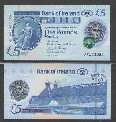 2017 2019 UNC 5;10 pounds SET Bank of Ireland Northern P-New Polymer