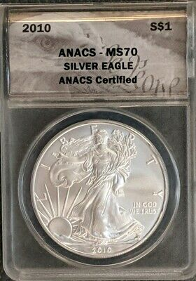 2010 SIlver American Eagle ANACS MS70 FREE SHIPPING
