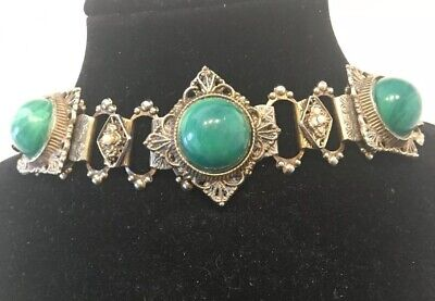 Antique Czechoslovakia Glass  Large Stones&Brass Link Bracelet