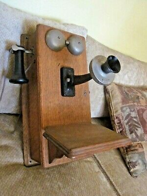 Western Electric Oak Wood Magneto Wall Telephone.
