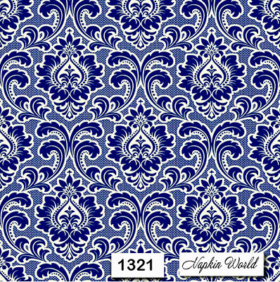 (1321) TWO Individual Paper Luncheon Decoupage Napkins - PATTERN NAVY WHITE