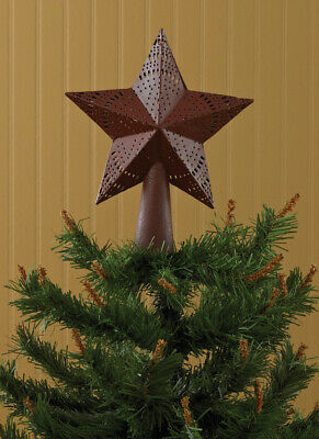 Star in Red Embossed Metal Tree Topper Small - By Park Designs - Christmas