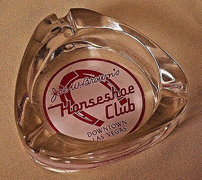 Joe Brown's Horseshoe Club Ashtray Downtown Las Vegas Glass Triangular Vintage.