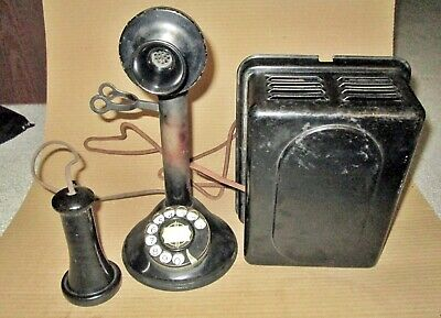 Automatic Electric Dial Candlestick Telephone & Subset Ringer Box - Original Con
