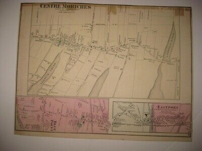 Antique 1873 Center Moriches Eastport Blue Point New York Handcolored Map Rare N