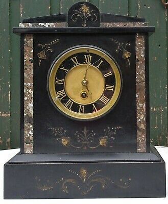 Great Looking Old Heavy Quality Inlaid Slate Mantle Clock To Restore