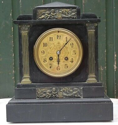 Fab Looking Japy Freres Slate Mantle Clock With Bronze Decoration And Fancy Dial