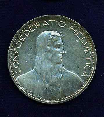 Switzerland Republic  1923-B   5 Francs  Silver Coin, Almost Uncirculated