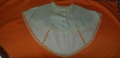 Vintage Twill Child's Lace Caplet Clear Plastic Rhinestone Buttons & Velvet Bow