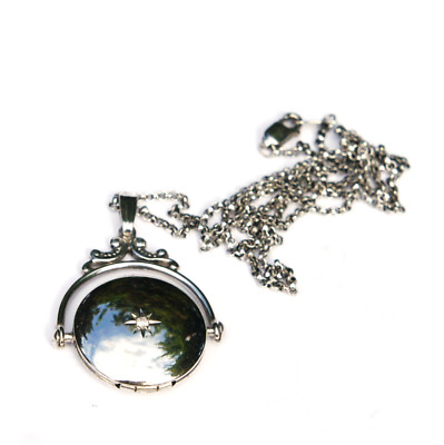 Art Deco Chrome Plated Sterling Silver Diamond Swivel Locket Pendant Necklace