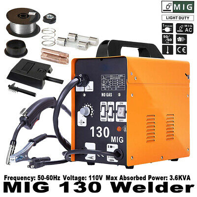 MIG 130 Welder Flux Core Wire Automatic Feed Welding Machine w/ Free Mask 110V