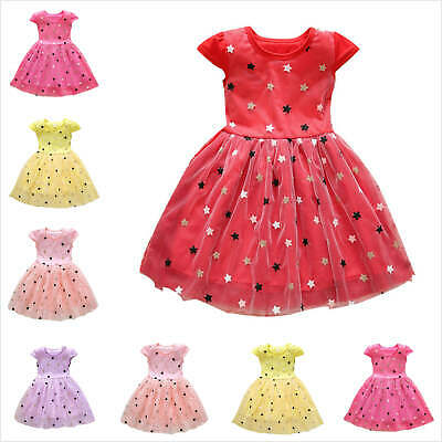 6M-3Y Toddler Kids Girls Patchwork Stars Tulle Princess Dresses Casual Clothes