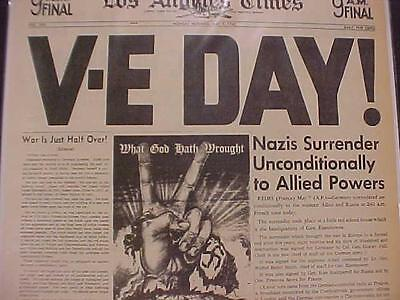 Vintage Newspaper Headline ~World War Nazi Germany Army Surrenders V-E Day Wwii