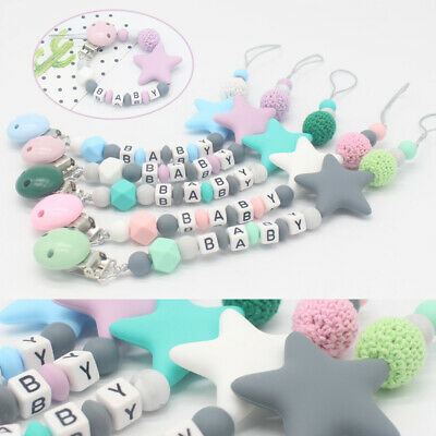 NEW Chew Toy Infant Silicone Pacifier Chain Soother Baby Teething Dummy Clips