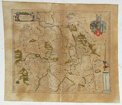 1660 ANTIQUE 17th CENTURY MAP of GERMANY