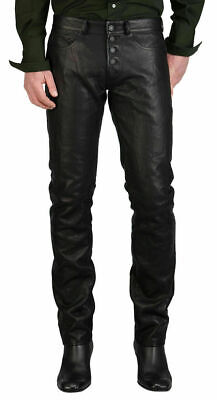New Men's Original Cowhide Leather pants Motorcycle Black Genuine Biker Button F