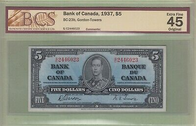 1937 Bank of Canada 5 Dollars Note - Gordon/Towers - S/C2446023 - EF45