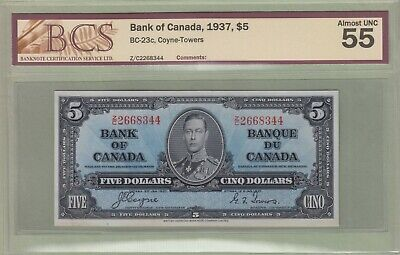 1937 Bank of Canada 5 Dollar Note - Coyne/Towers - Z/C2668344 - AU-55