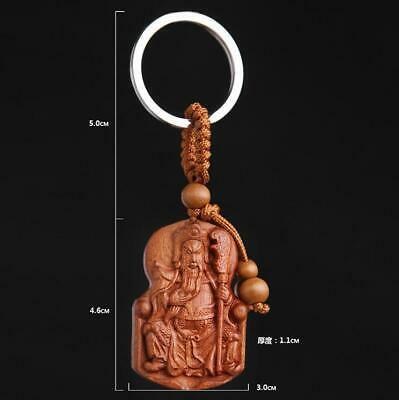 Wood China handcarved statue Weave Pendant car cameo hero guangyu Key Chain