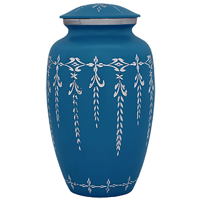 Ice Blue Urn for Human Ashes - Adult, Large Cremation Memorial