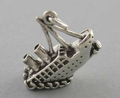 TITANIC SINKING SHIP Solid Sterling Silver 925 Charm Pendant 3D 2637