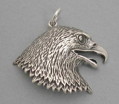 American BALD EAGLE HEAD Solid Sterling Silver 925 Pendant Large Bird 849