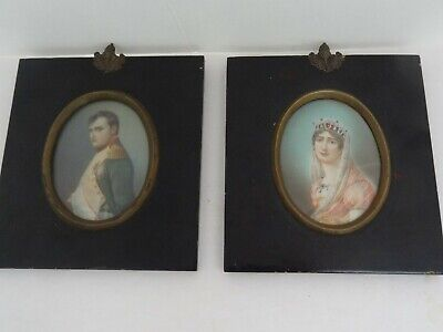 Antique Pair French Painted Portraits Napoleon Josephine- Artists Gerard & Dupre
