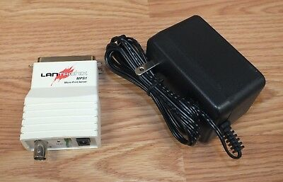 Lantronix (MPS1) Ethernet Micro Print Server Adapter with AC Power Supply READ
