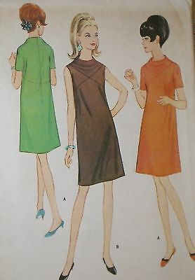 Vintage 1960s McCalls 8851 MOD Yoked Drape Neck Dress Pattern 31.5B sz 11