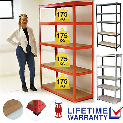 Metal Racking Bay 5-Tier Garage Shelving Heavy Duty Storage Rack Unit Industrial