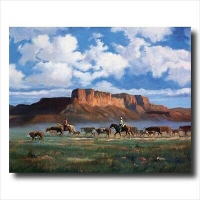 Cowboys Horses Cattle Western Wall Picture Art Print
