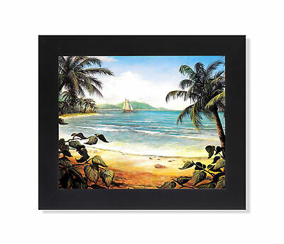 Tropical Beach One Ship Ocean Wall Picture 8x10 Art Print