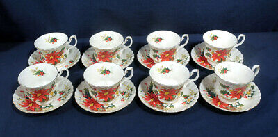 Royal Albert Bone China Yuletide Christmas Poinsettia 8 Cup and + Saucer Sets
