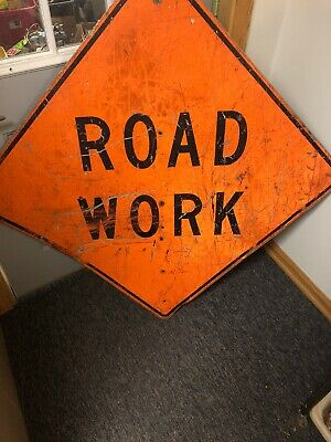 """LARGE ALUMINUM 36"""" x 36"""" CONSTRUCTION ROAD WORK TRAFFIC SIGNS FREE SHIP"""