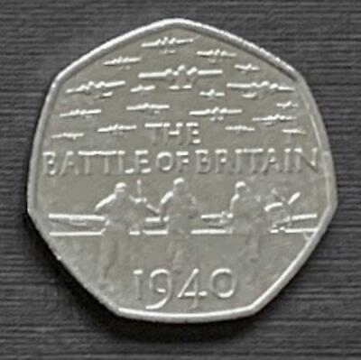 2015 50p Fifty Pence Coin Battle of Britain Uncirculated or near so Free Postage