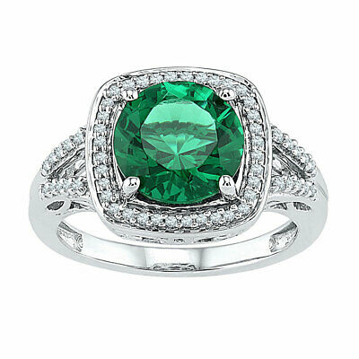 Sterling Silver Womens Round Lab-Created Emerald Solitaire Diamond Ring