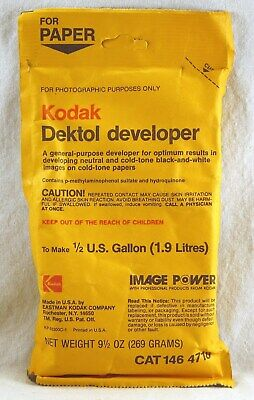 KODAK DEKTOL DEVELOPER Cat# 146 4718 MAKES 1/2 GALLON for Paper B&W Photos