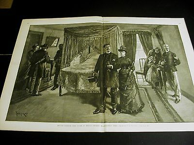Thulstrup MOUNT VERNON Room Where George Washington Died 1886 Large Folio Print